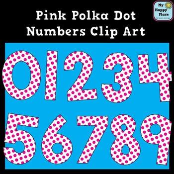 Pink Polka Dot Numbers Clip Art