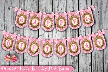 Pink Princess Happy Birthday Banner