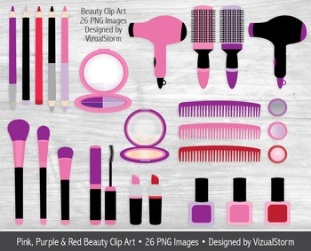 Pink and Purple Beauty Clip Art, Hand Drawn Girls Makeup I