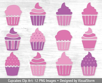 Pink and Purple Cupcakes Clip Art, 12 Hand Drawn Cupcake I