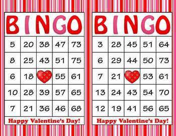 Pink Red Stripes Valentine's Day Bingo - 100 Printable Bin