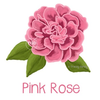 Pink Rose with and without Leaves Printable Tracey Gurley Designs