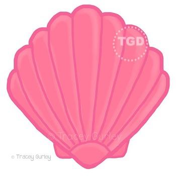 Pink Scallop Shell - scallop shell clip art, beach art Tra
