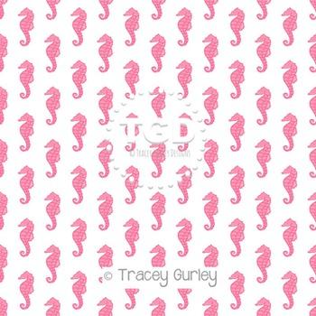 Pink Seahorse Pattern Repeat on White digital paper Printa