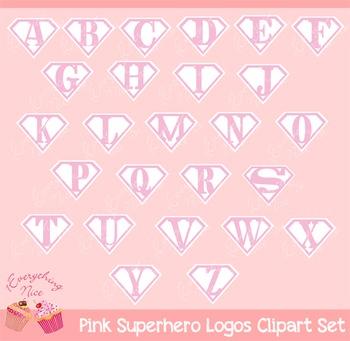 Pink Super Hero Logo Logos Clipart Set