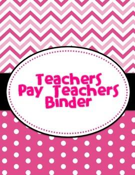 Pink Teachers Pay Teachers Binder Cover