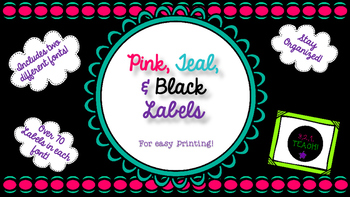 Pink, Teal, and Black Classroom Labels