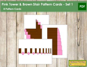 Pink Tower and Broad Stair Pattern Cards - Set 1