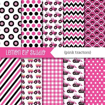 Pink Tractors-Digital Paper (LES.DP57B)