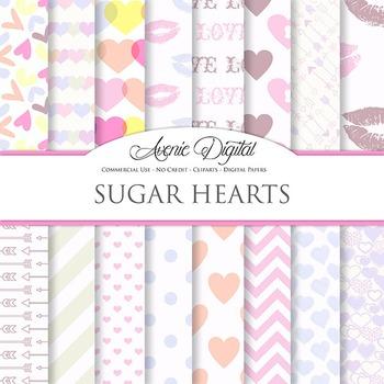 Pink Valentine's day Digital Paper scrapbook background, l