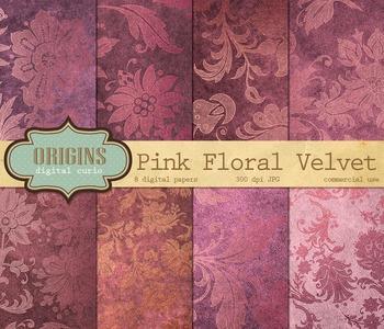 Pink Velvet Gold Floral Damask Digital Paper Scrapbooking