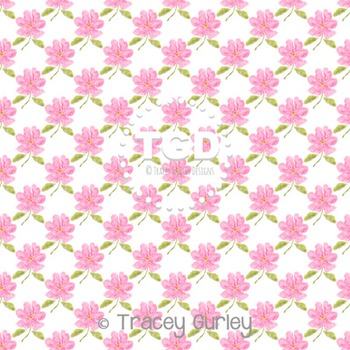Pink Watercolor Flower Pattern Repeat on White digital pap
