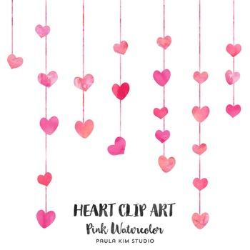 Pink Watercolor Heart Clip Art