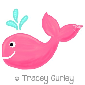 Pink Whale - Pink whale clip art Printable Tracey Gurley Designs