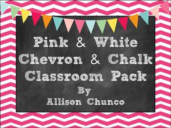 Pink & White Chevron & Chalk Classroom Pack