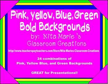 Pink, Yellow, Blue, and Green Bold Backgrounds by Nita Marie