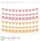 Pink, Yellow and Grey Bunting Clipart