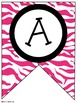 Pink Zebra Classroom Pennants and Bunting (Letters, Number