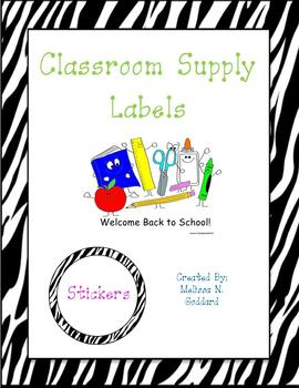 Pink Zebra Classroom Supply Labels