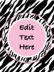 Pink Zebra Posters (Editable}