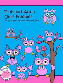 Pink and Aqua Observant Owls for Personal and Commercial U