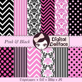 Pink and Black Backgrounds, Chevron, Polka Dots, Damask &