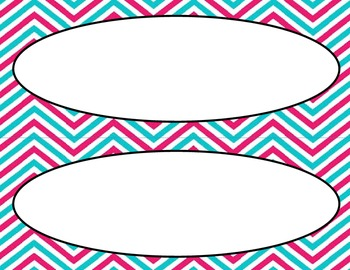 Pink and Blue Chevron Classroom Labels and Tags