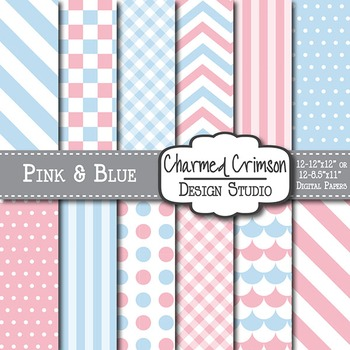 Pink and Blue Digital Paper 1399