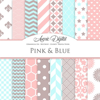 Pink and Blue Digital Paper patterns - bright color scrapb