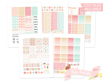 Pink and Blue Sewing Printable Planner Weekly kit Stickers