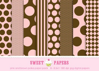 Pink and Brown Polka dots and Stripes Digital Paper Pack -