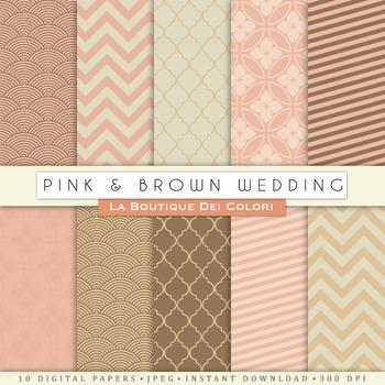 Pink and Brown Wedding Digital Paper, scrapbook backgrounds
