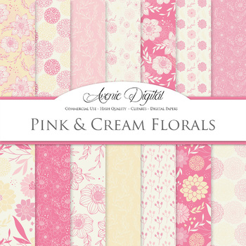 Pink and Cream Floral Digital Paper patterns Pastel dahlia