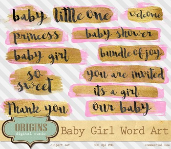 Pink and Gold Baby Girl Word Art overlays clipart, typogra