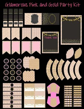 EDITABLE Pink and Gold Classroom Party Decoration Set