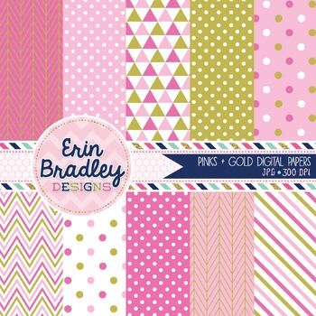 Pink and Gold Digital Papers