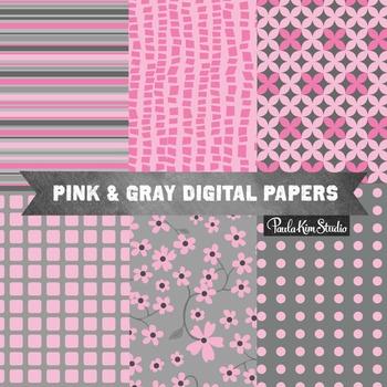Digital Paper - Pink Gray