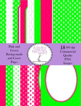 Pink and Green Backgrounds and Cover Pages