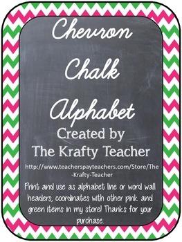 Upper Grades Cursive Chevron Chalk Alphabet - Back to School