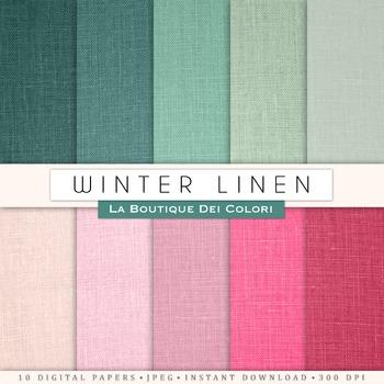 Pink and Green Linen Digital Paper, scrapbook backgrounds
