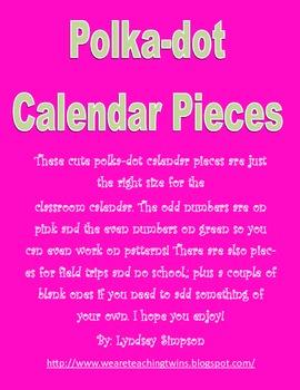 Pink and Green Polka-dot Calendar Pieces