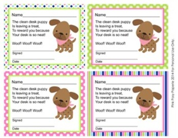 Pink and Green Puppy Clean Desk Awards