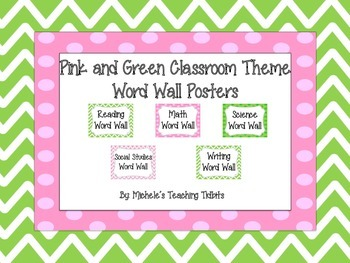 Pink and Green Themed Word Wall Signs