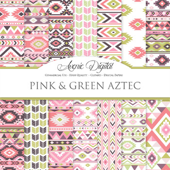 Pink and Green aztec Digital Paper arrows tribal patterns