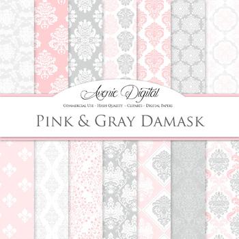 Pink and Grey Damask Digital Paper patterns ornate wedding