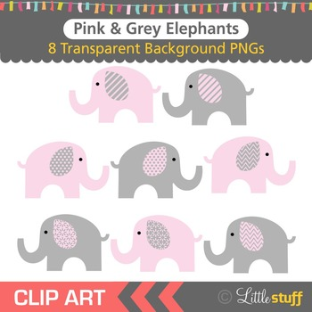 Pink and Grey Elephant Clipart, Gray and Pink Elephant Clip Art