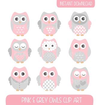 Pink and Grey Owls Clip Art Set