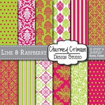 Pink and Lime Green Damask Digital Paper 1364