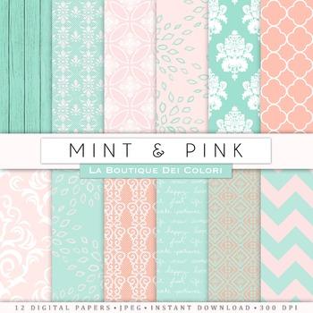 Pink and Mint Digital Paper, scrapbook backgrounds