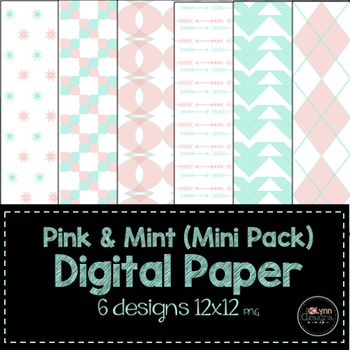 Pink and Mint Mini Pack Digital Paper